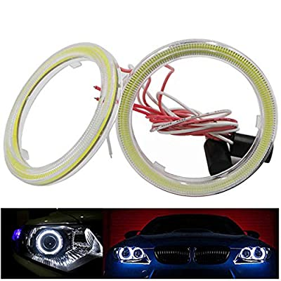 1-Pair White 95MM COB LED Headlight Angel Eyes Bulb Halo Ring Lamp Light with Housing YSY (95MM): Automotive