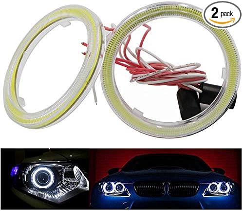 Pair 95MM COB LED RGB Angel Eye Lights Halo Ring DRL Headlight Phone APP Control