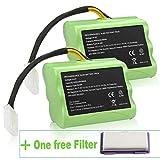 14.4V 4000mAh High Capacity Battery for Neato XV-11 XV-12 XV-14 XV-15 XV-21 XV-25, XV Essential, XV Signature Pro Robotic Vacuum Cleaners Neato Battery 945-0005 205-0001 (NI-MH, 2 Pack + 1 Filter)