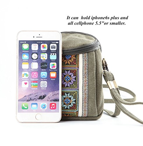 Girls Goodhan Women Red Cell Basic for Canvas Coin Pouch Crossbody Embroidery Bag phone Wire Purse E001 Size PwrqPv