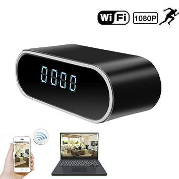 YMXLJJ Mini Alarma Reloj cámara 1080p HD cámara WiFi conexión 12 Infrarrojos visión Nocturna lámpara Escritorio