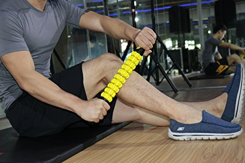 Idson Muscle Roller Massager Stick The 18 Inch Sports Body Massage Roller Deep Tissue Muscle of Foot,Leg,calf and Back Recovery Relief of Muscle Soreness,Tightness and Cramps,Yellow Black