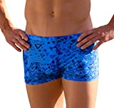 Cooltan Men's Sun Through Hipster Swim Shorts Blue Aztec Print (Small)