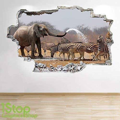 BEDROOM LOUNGE NATURE WALL DECAL Z646 ELEPHANT ZEBRA WALL STICKER 3D LOOK