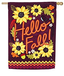 Evergreen Hello Fall Suede casa Bandera, 28 x 44 cm