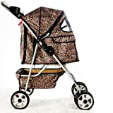 BestPet 4-Wheel Pet Stroller, Classic Leopard Skin For Sale