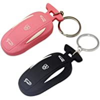 Sunower Silicone Car Key Ring, 2 of Pack Key Fob Case Cover Holder for Tesla Model X Size Model X Pink+Black