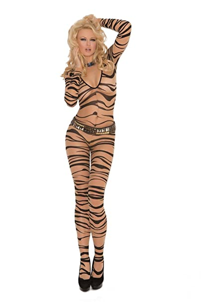 8389a1a745a Amazon.com  Elegant Moments Women s Sheer Zebra Print Long Sleeve  Bodystocking
