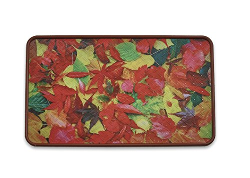 Resilia - Premium Boot Tray, Shoe Tray, and Floor Mat - Leaves Print Insert with a Burgundy Tray, 17 Inches x 28 Inches, Made in The USA ()