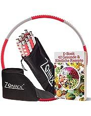 Zonnx Hula Hoop om af te Vallen met Buikweggordel / Hoelahoep Fitness voor Volwassenen, Beginners en Pro met Instelbaar Gewicht / Roestvrij Stalen Kern / E-Book en Draagtas