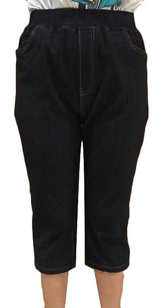 f88ed6a429b55 Pandapang Womens Relaxed-Fit Thin Plus Size Comfort Elastic Waist Capri  Jeans Black 6X-