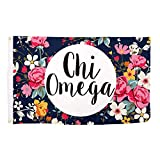 Cheap Chi Omega Floral Pattern Letter Sorority Flag Greek Letter Use as a Banner Large 3 x 5 Feet Sign Decor chi o
