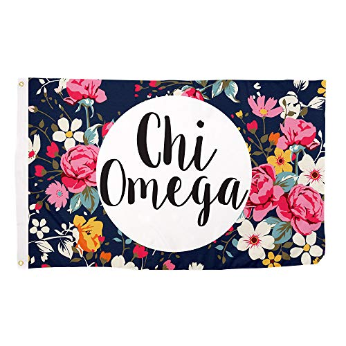 Chi Omega Floral Pattern Letter Sorority Flag Greek Letter Use as a Banner Large 3 x 5 Feet Sign Decor chi o -