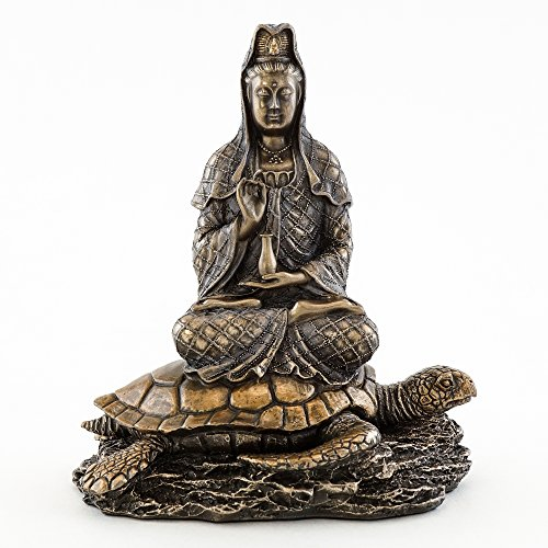 "Top Collection Small 6.5"" H 5.5"" W Guan Yin in Lotus Pose Rising from the Sea on Turtle Figurine. Bronze Powder Mixed with Resin - Bronze Finish with Color Accents. East Asian Buddhist Deity Goddess of Compassion and Mercy."