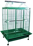YML 1-Inch Bar Spacing Play Top Wrought Iron Parrot Cage, 40-Inch by 30-Inch In Antique Silver, My Pet Supplies