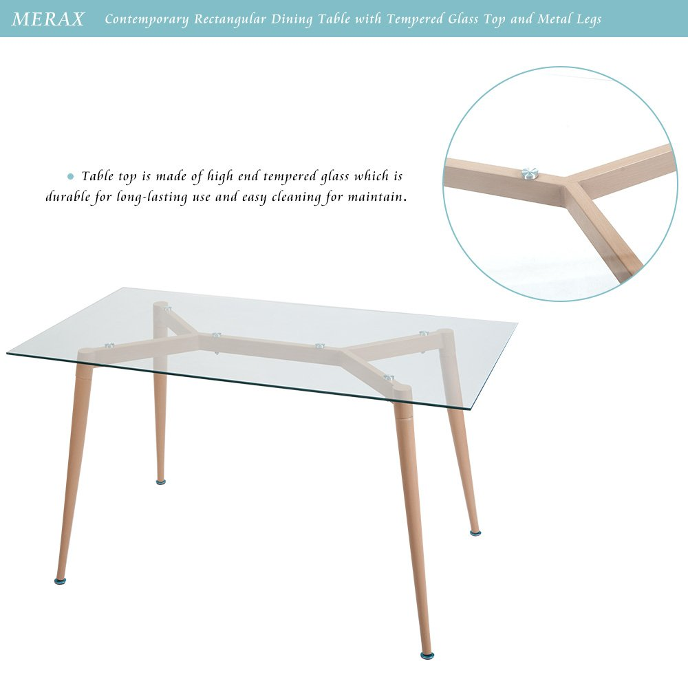 Nice Amazon.com   Merax Contemporary Rectangular Dining Table With Tempered Glass  Top And Metal Legs   Tables