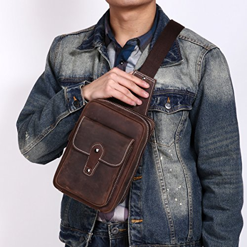 Leathario bolso bandolera de color café con La primera capa de cuero de caballo loco para viaje o trabajo. café 1