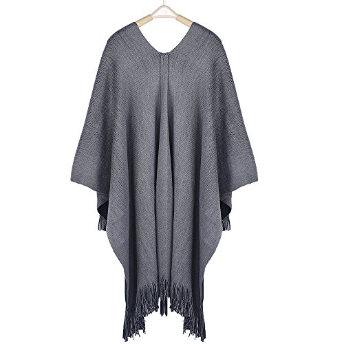 Clearance WUAI Womens Knitted Cardigan Cashmere Capes Shawl Cardigans Sweater Coat(Grey,Free Size)