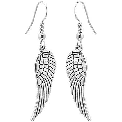 réduction jusqu'à 60% chaussures authentiques images officielles 2LIVEfor Boucles d'oreilles pendantes en forme d'aile d'ange ...