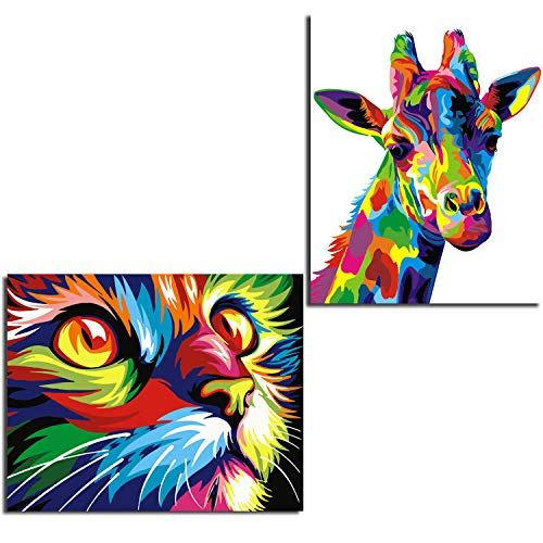 Cat Colorful (2 Pack Frameless DIY Oil Painting Paint by Number Colorful Giraffe and Cat Wall Art Picture for Kids and Adults,16 x 20 Inches)