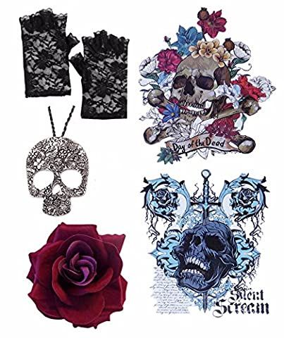 Gothic Day Of Dead Dark Red Hair Rose +Cross Necklace +Fingerless Gloves +Tattoo
