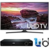 Samsung UN40MU6290 Flat 39.9 LED 4K UHD 6 Series Smart TV (2017 Model) w/ HDMI DVD Player Bundle Includes, HDMI 1080p High Definition DVD Player, 6ft High Speed HDMI Cable and LED TV Screen Cleaner