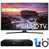 Samsung UN40MU6290 Flat 39.9'' LED 4K UHD 6 Series Smart TV (2017 Model) w/ HDMI DVD Player Bundle Includes, HDMI 1080p High Definition DVD Player, 6ft High Speed HDMI Cable and LED TV Screen Cleaner