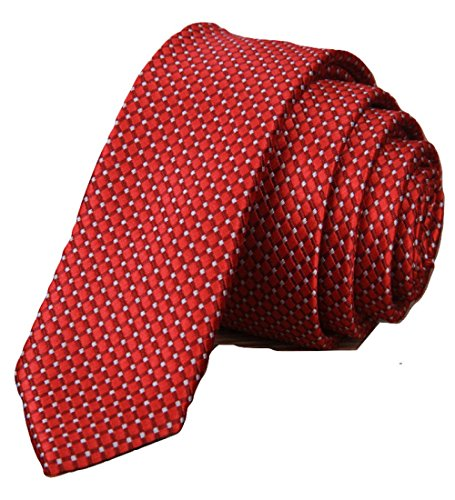 Red Necktie Men's Ties Solid Striped Tie Woven Classic Jacquard Silk Formal Suit (Silk Striped Belt)