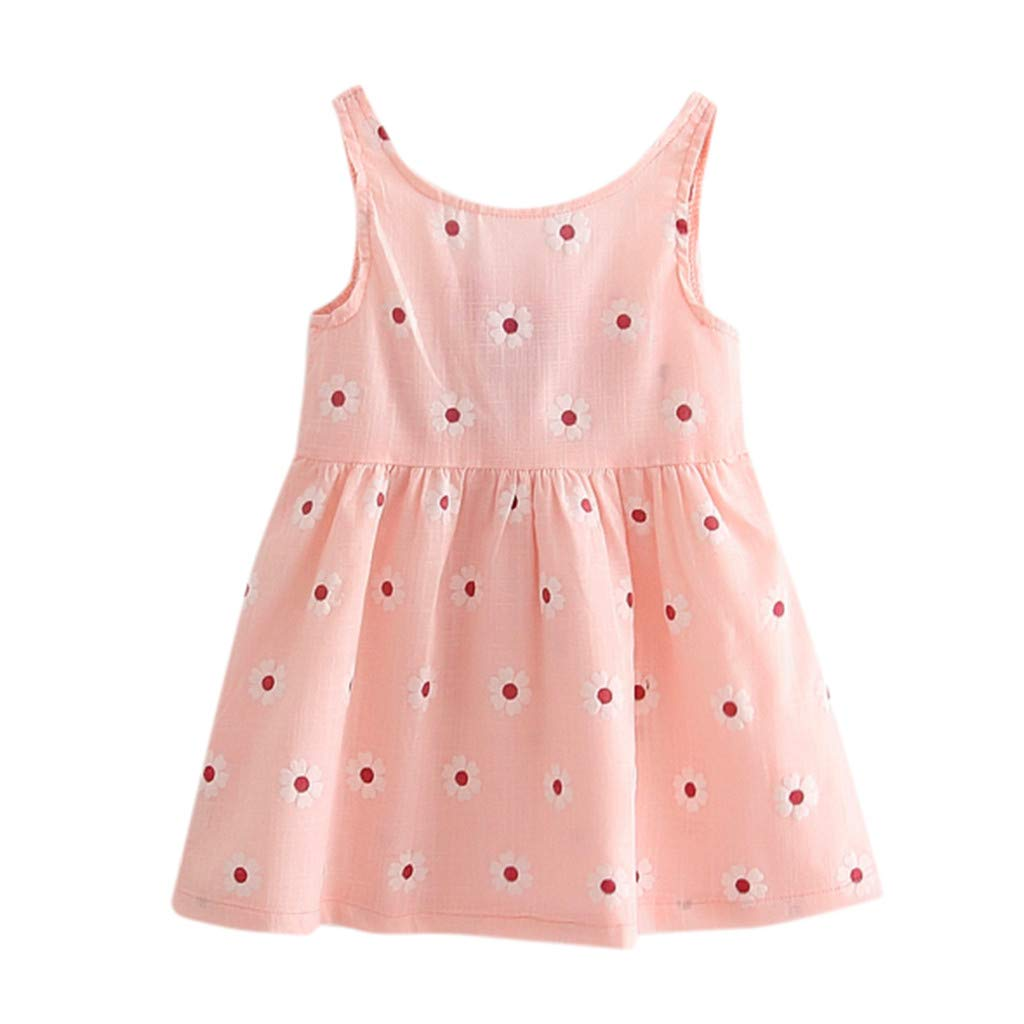 Toddler Baby Girl Kids Bowknot Floral Sleeveless Casual Princess Dresse Clothing Pink