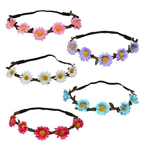LAMEIDA 5 Pcs Flower Crown Headband Cute Floral Crown Artificial Flower Wreath Wedding Hair Garland for Women -