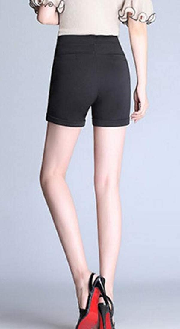 pipigo Womens Rolled Cuff Relaxed Summer High Waisted Pleated Shorts with Pockets