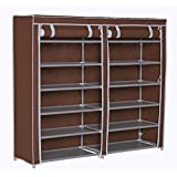 """Homebi Shoe Rack Closet Tower Portable Storage Organizer Double Rows 6-Tier Space-saving Shoe Case Cabinet with Dustproof Non-woven Fabric Cover in Brown,47.24""""W x 12.4"""" D x 41.34""""H"""