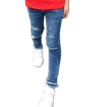 LaoZanA Niñas Jeans Chicas Vaqueros Rectos Mezclilla Pantalones Jeggings