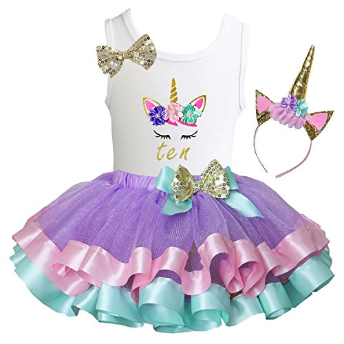 (Kirei Sui Girls Lavender Pastel Satin Trimmed Tutu Birthday Unicorn XL Ten)