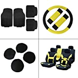 Scitoo 15-PCS Front Rear Car Floor Mats Black/Yellow Car Seat Cover W/Belt Pads/Steering Wheel Cover for Heavy Duty Vans Trucks