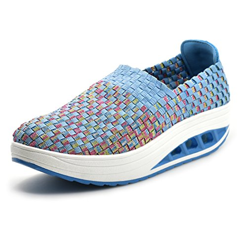 Elastic Womens Shoes - SUDILO Women's Ultra Lightweight Multicolor Woven Fashion Sneakers Casual Breathable Slip-on Shoes