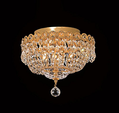 Century Collection 4 Light Crystal Flush Mount Ceiling Fixtures in Gold Finish Century Collection Flush