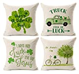 Kithomer St. Patricks Day Throw Pillow Cover Happy Patrick's Day Leaf Decorative Lucky Truck Cushion Cover Spring Green Leaves Decor Set of 4