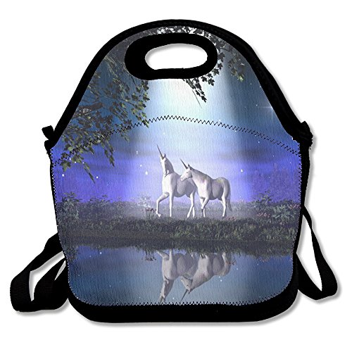 Unicorn Horse Fashionable Insulated Heating Polyester Shoulder Strap Women Men Kids Boys Black Lunch Bag Tote Purse For Travel Office