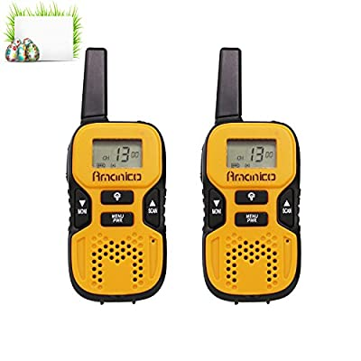Amanico Kids Walkie Talkies, 22 Channel FRS/GMRS 2 Way Radio 2 miles (up to 3.7 Miles) UHF Handheld Smart & Mini Size 3.3 In Length for girls boys Kids Children Teens (1 Pair), Orange by Amanico