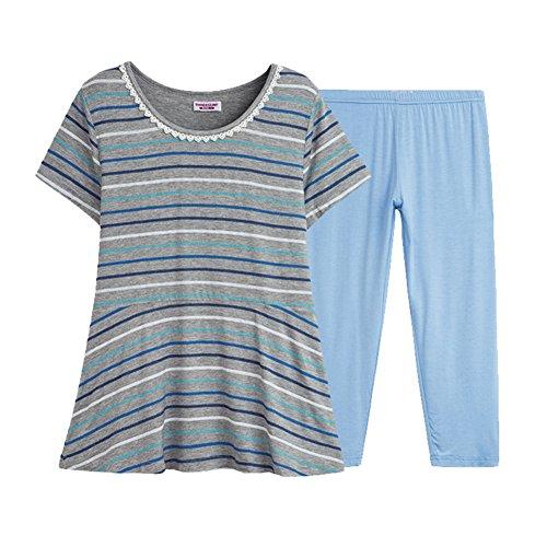 Verano damas pijamas/Pantalones de cuello redondo manga corta de impresión/Kit de casa de la mujer A