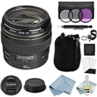 Canon EF 100mm f/2 USM Lens + Canon EF 100mm Lens Advanced Accessory Kit - Canon Lens Bundle Includes EVERYTHING You Need to Get Started