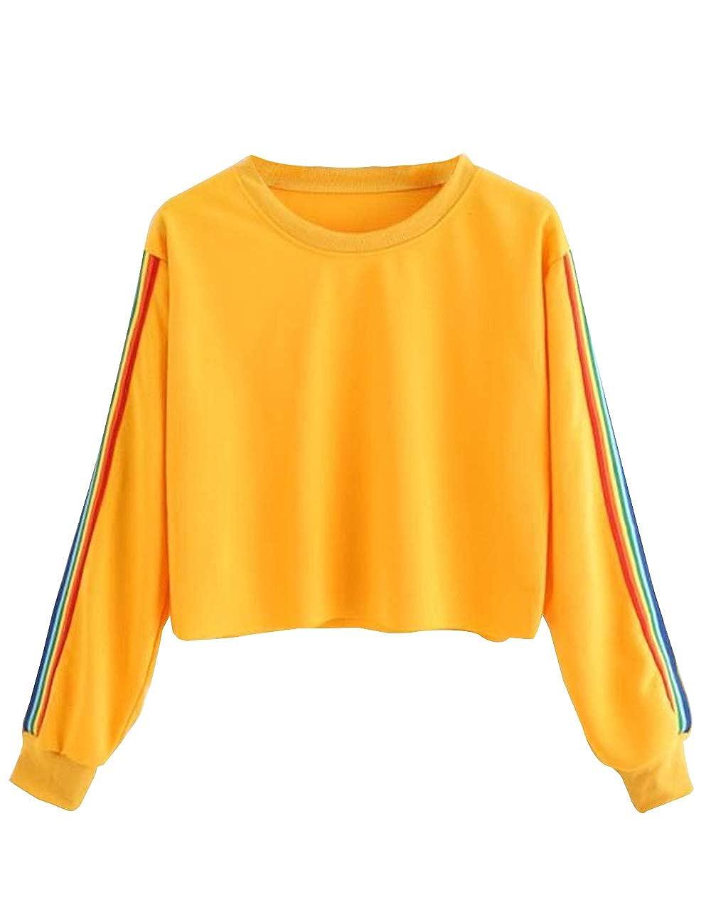 Bauchfreier Pulli Mädchen, Damen Pullover Regenbogen Streifen Patchwork Langarm Sweatshirt Kurz Crop Tops Oberteile Sweatjacke Shirts Hemd Bluse