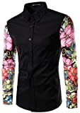 Whatlees Mens Fashion Luxury Casual Slim Fit Stylish Long Sleeve Dress Shirts Floral B030-black-M