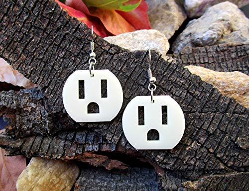 Electric Outlet Earrings, Weird Earrings, Statement Dangle Earrings, Power Plug Socket Face, Weird Stuff Jewelry