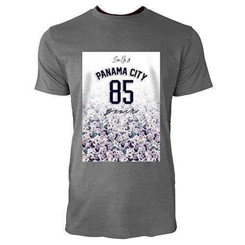 SINUS ART ® Floraler Print – Panama City 85 Beach Herren T-Shirts in Grau Charocoal Fun Shirt mit tollen Aufdruck