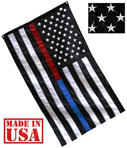 US Flag Factory - 3'x5' Thin Blue Line and Thin Red Line Dual American Flag (Embroidered Stars, Sewn Stripes) for Police Officers, Firefighters, First Responders - Outdoor Nylon - Premium Quality