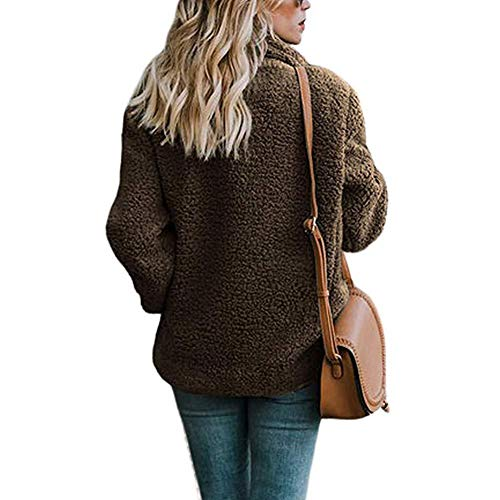 Outwear Button Jacket Fleece Women Warm KOERIM Solid Tea Fuzzy Winter Pocket Autumn Faux Coat Color s Lapel g6qZFH8q