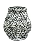 Sagebrook Home VC10046-02 Woven Look Vase, Blue Ceramic, 8 x 8 x 9.25 Inches