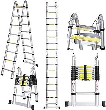3.8 m/5 m alta calidad aluminio escalera telescópica con dedos Pinza – Escalera extensible de aluminio escalera telescópica de diseño Soporta hasta 150 kg: Amazon.es: Bricolaje y herramientas
